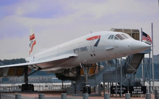 Concorde jet on display alongside Intrepid.