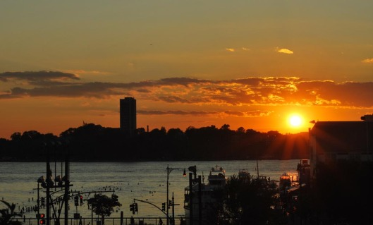 Sunset over the Hudson River as viewed from the High Line Park.