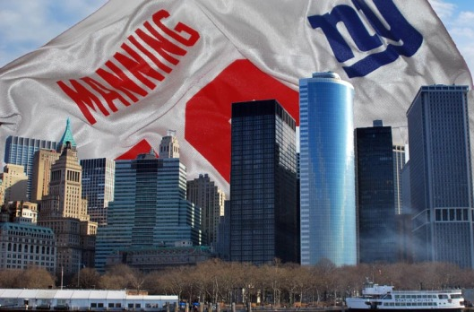 Eli Manning soars against the New York skyline.